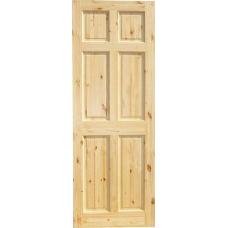 6 Panel Knotty Pine Door