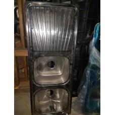 """Sink Double Bowl Single Drain 48x18-1/2"""" Left drainboard"""