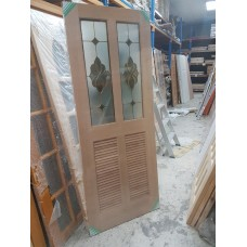 """Door Cherry Wood A32 32""""x80"""" Half French Decorative over 2 louvres"""