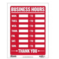 Sign Business Hours 12x16