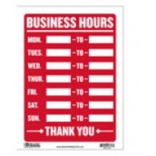 Sign Business Hours 9x12