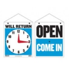 Sign Open Clock 7.5x9