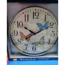 """Westclox 12"""" Wall Clock Butterfly"""